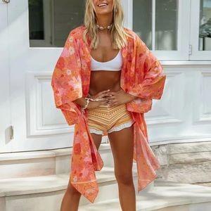 Orange Boho Floral Print Kimono Beach Wrap
